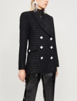ALESSANDRA RICH Crystal-embellished metallic-tweed jacket in black. GLAMOROUS LUXE BLAZER