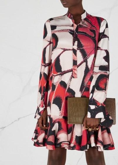 ALEXANDER MCQUEEN Butterfly-print silk mini dress ~ feminine prints - flipped