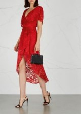 ALICE + OLIVIA Darva red devoré dress / floral lace/burnout