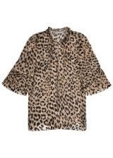 ALICE + OLIVIA Julius flocked leopard chiffon blouse – animal prints – brown tones
