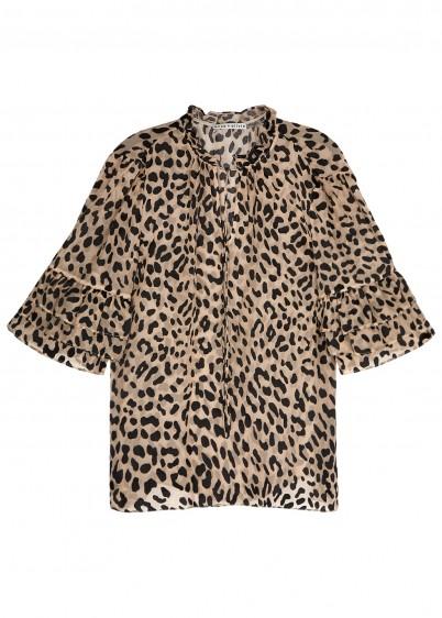 ALICE + OLIVIA Julius flocked leopard chiffon blouse – animal prints – brown tones