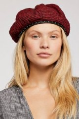 Free People Alice Studded Houndstooth Beret / dogtooth checks / chic Autumn accessory