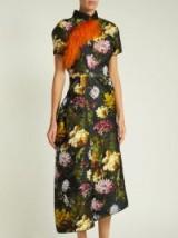 PREEN BY THORNTON BREGAZZI Alicia asymmetric black floral jacquard dress
