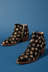 ANTHROPOLOGIE Allover-Star Suede Ankle Boots Black. METALLIC STARS