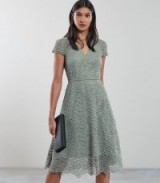 REISS ARIELLE LACE FIT AND FLARE DRESS PALE GREEN ~ feminine skater