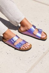 Arizona Metallic Birkenstocks Gemm Violet. CASUAL LUXE SANDALS