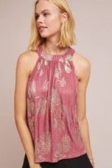 Feather Bone Ase Halterneck Top Pink. METALLIC PRINTS
