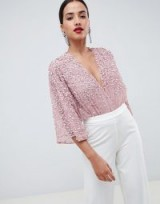 ASOS DESIGN body with kimono sleeve with sequin embellishment in Nude Pink | plunging bodysuit