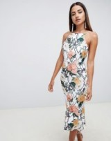 ASOS DESIGN floral midi bodycon dress with pep hem | fitted party frock
