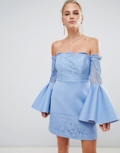 ASOS DESIGN lace mix mini a line dress in blue – going out – evening bardot fashion