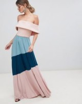 ASOS DESIGN Scuba Bardot Colourblock Pleated Maxi Dress – long off the shoulder fashion – evening look