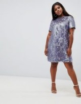 ASOS DESIGN Curve mini shift dress in heavily embellished fringed sequin purple – shimmering party dresses