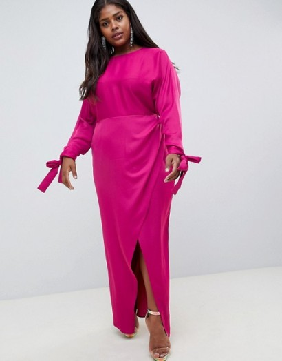 ASOS DESIGN Curve satin batwing sleeve maxi dress in plum – long going out fashion – plus size evening glamour