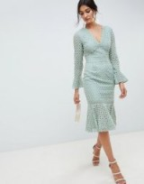 ASOS DESIGN broderie lace v neck fluted sleeve midi dress in sage green | peplum hem