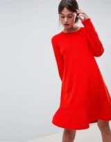 ASOS DESIGN Dress In Fine Knit With Ruffle Hem in Red | knitted dresses