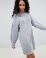 ASOS DESIGN Knitted Dress With Balloon Sleeve in Pale Grey Marl | sweater dresses