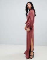 ASOS DESIGN one shoulder satin jumpsuit with blouson sleeve | one sleeve jumpsuits ~ slinky party fashion