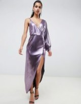 ASOS DESIGN 70s metallic sleeve detail midi dress in purple | disco diva