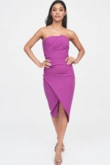 Lavish Alice asymmetric bandeau midi dress in magenta | strapless wrap style bodycon