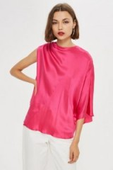 Topshop Asymmetric Kimono Top by Boutique in Pink | oriental inspired | one sleeve
