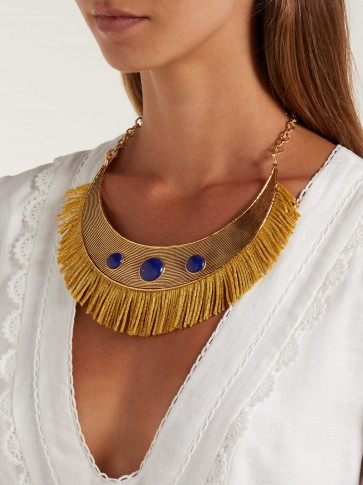 AURÉLIE BIDERMANN Azzura lapis stone fringe necklace | boho blue stone statement necklaces
