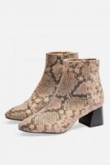 TOPSHOP Babe Block Heel Boots / snake print