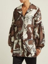 EDWARD CRUTCHLEY Brown Balloon-sleeved printed silk shirt ~ mythical prints