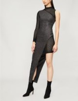 BALMAIN Asymmetric mesh and metallic-knit dress Argent fonce/noir ~ one sleeve glamour