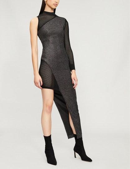 BALMAIN Asymmetric mesh and metallic-knit dress Argent fonce/noir ~ one sleeve glamour - flipped
