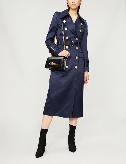 BALMAIN Double-breasted woven-twill trench coat Bleu fonce ~ chic military style