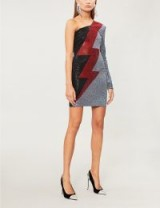 BALMAIN Lightning-bolt crystal-embellished woven dress in Noir/rouge/argent | black, red & silver one shoulder frock