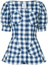 BAMBAH blue and white royal gingham tunic – check print puffed sleeved top