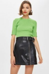 Topshop Belted Black Leather Mini Skirt
