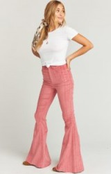 show me your mumu BERKELEY ZIP UP BELLS VINTAGE ROSE CORDUROY – pink extreme flares