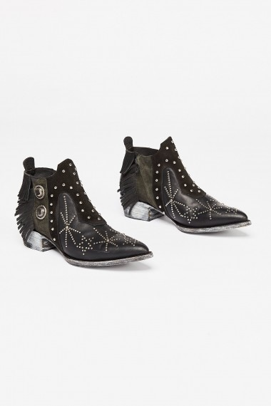 Mexicana Bev Western Boot in Black / cool studded fringe-trimmed ankle boots