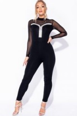 PARISIAN BLACK DIAMANTE TRIM MESH SLEEVE HIGH NECK CATSUIT | sheer sleeved fitted jumpsuit