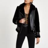 River Island Black faux fur aviator jacket