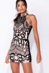 PARISIAN BLACK SEQUIN FRONT CONTRAST BACK SLEEVELESS MINI DRESS | embellished party frock