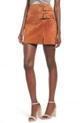 BLANKNYC Double Buckle Suede Skirt in El Dorado | brown tone mini | autumn colours
