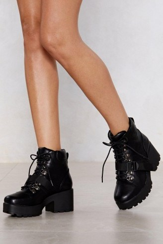 Nasty Girl Block My World Faux Leather Boot – chunky platform boots - flipped