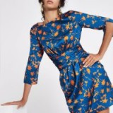 River Island Blue floral print wrap dress | waisted party frock