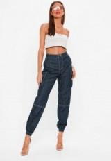 Missguided blue high rise denim combat trousers | cuffed jeans