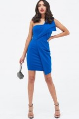 Lavish Alice blue ponte one shoulder fold detail dress | asymmetric party frock