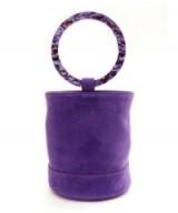 SIMON MILLER Bonsai 20 Purple Suede Bucket Bag with Tonal Acrylic Hoop Handles