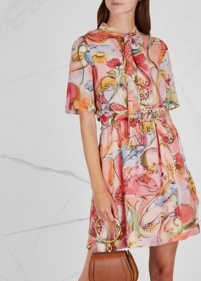 BOUTIQUE MOSCHINO Fantasy-print silk chiffon dress – feminine & floaty fabric – swirly prints