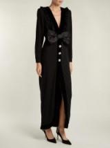 ALESSANDRA RICH Bow-trimmed V-neck wool-blend crepe dress | plunge front eveningwear