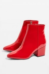 Topshop Brandy Red Patent Ankle Boots | retro autumn footwear
