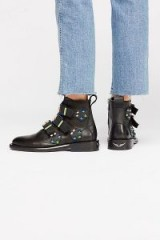 Zadig & Voltaire Break Away Ankle Boot in Black / coloured studs and buckled boots