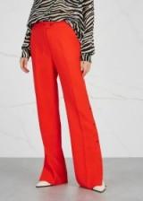 BRØGGER Gurli red wide-leg wool trousers | stud-fastening hems
