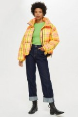 TOPSHOP Bright Check Puffa Jacket in yellow / checked puffer
